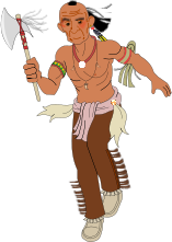 cartoon,indian,axe,warpath,running
