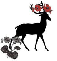 deer,red flower,animal,nature,media,clip art,line art,crown,symbol,image,svg