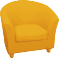 single,sofa,yellow,golden,furniture