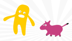 comic,guy,dog,walk,monster,yellow,pink