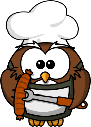 owl,cartoon,bird,funny,animal,grill,sausage,cook,skewer,barbecue