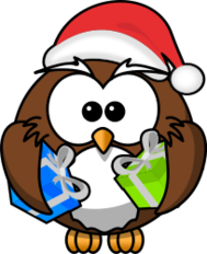 owl,cartoon,bird,funny,animal,present,santa,christmas,gift,xmas