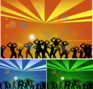 abstract,dance,dance party,free vector,girl,party,party vector,people,silhouette,star,swirl