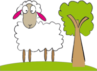 animal,cartoon,farm yard,lamb,sheep,tree