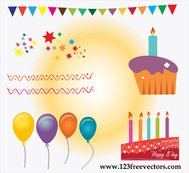 background,balloon,birth,birthday,birthday cake,birthday vector,candle,card,celebration,color paper,flame,free vector,happy birthday,star