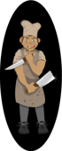 character,chef,cooking,hat,human,kitchen,knife,man,people,person,restaurant,service,weapon