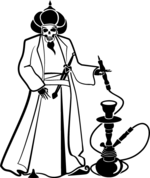 arabic,danger,death,hookah,horror,knife,man,pipe,scary,skull,smoke,smoking,tobacco,tube