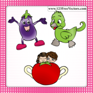 animal,apple,aubergine,baby,background,boy,brinjal,cartoon,character,childish,child,cute,duck,eggplant,fruit,funny,girl,kid,little,people,vegetable