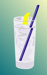 food,water,ice,straw,lemon,glass