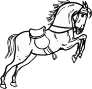 animal,horse,jumping,outline,contour,coloring book,black & white