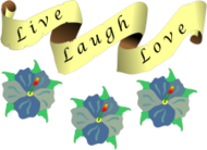 remix,love,laugh,live,banner,scroll,flower,color,clip art,media,public domain,image,svg,png