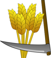 media,clip art,public domain,image,svg,wheat,food,farm,harvest,tool,scythe,crop,cartoon,colour