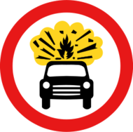 sign,roadsign,forbidden,prohibited,vehicle,car,explosion,explosive,danger,media,clip art,public domain,image,svg
