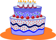 remix,food,cake,birthday,birthday cake,party,blue,candle,clip art,media,public domain,image,svg
