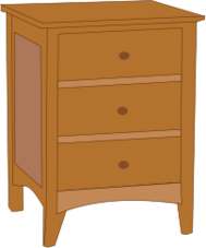 dresser,endtable,table,furniture,bedroom,line art,outline,contour,color,brown