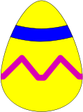 easter egg,yellow,blue stripe,pink squiggle,one,easter