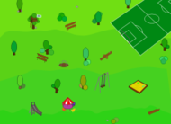 playground,simple,cartoon,color,colorful,children's,tree,tree house,plant,grass,vegetation,slide,table,chair,bench,bush,field,soccer field,soccer,gate,soccer gate,flag,carousel,see-saw