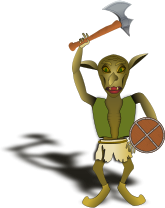 goblin,warrior,axe,shield,fantasy,monster,badguy