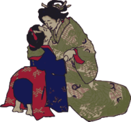 kiss,geisha,woman,japan,hug