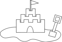 sand castle,building,sand,shovel,castle,seashore,flag,coloring book,line art,beach,summer,summer2010,black and white