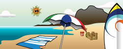 summer,summer2010,beach,towel,pail,shovel,castle,sea,sun,glasses,sunglasses,cloud,island,umbrella,recreation,vacation,season