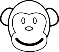 monkey,black and white,line art,coloring book,coloring