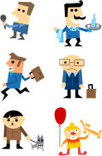 cute cartoon,character,interviewer,waiter,run,running,depressed,happy clown,yellow,businessman,skin,clown,sad,happy,character