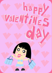 happy valentines card,cute,pink,girl,card,heart,valentine,shopping,heart