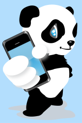 panda bear,bear,panda,mobile phone,touch screen,phone,blue