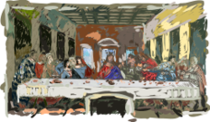 last supper,leonardo da vinci,paint,painting,draw,drawing,leonardo,hand drawn,art,history,jesus,apostle,bible,religion,christianity,catholicism,faith,impressionism,fresco,famous work
