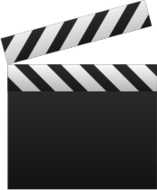 video,icon,clapboard,movie,file,black and white