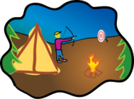 scene,camping,archery,bow and arrow,camper,camp,tent,campfire,tree,sport,arrow,pine,sport