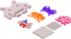 axonometric,space,invader,space invader,game,block,color,fun,pixel,art