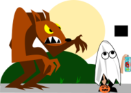 ghost,werewolf,halloween,cartoon,kid