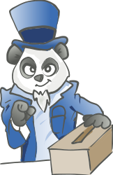 panda,election,voting,blue,cute,suit,uncle sam