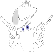 gun fighter,pistol,cowboy,cowboy hat,blue eye,eye,gun,scarf