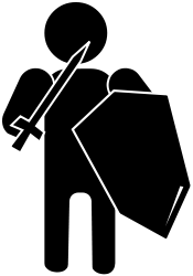 white outline,silhouette,soldier,sword,shield,black and white,b&w,person,sexless,gender neutral,warrior,armed
