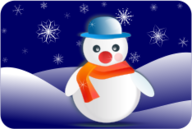 snowman,snowflake,winter scenery,dark blue,orange,glossy,postcard,snowflake