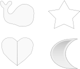 silhouette,outline,set,collection,whale,star,heart,moon,gray,grayscale