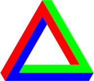 penrose,triangle,red,green,blue,impossible