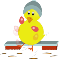 chick,chicken,yellow,blue,hat,kick,kicking,juggling,egg,pink,easter,holiday,spring,bench,cartoon,chick,easter,svg,inkscape,public domain,clipart