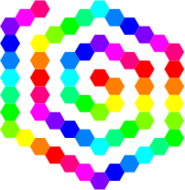 60,hexagon,spiral,12,color,rainbow