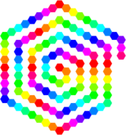 120 hexagon spiral,10,color,rainbow,awesome