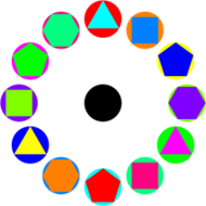 4 polygons in circles rainbow,triangle,square,pentagon,hexagon