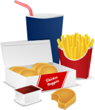 food,fast food,potato,fries,frites,french fries,chicken,chicken nugget,ketchup,cola,soda,drink,menu
