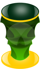 pillar,green,orange,mug,cup,gold,yellow,exotic,shiny,rough,trophy,face,mask,tribal,pillar