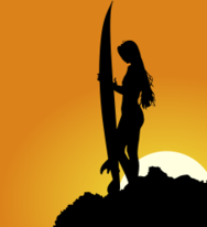 girl,surfer,sport,physical,wave,beach,sea,ocean,water,surfboard,rock,silhouette,shadow,sunset,sun,sky,sunlight,rock