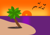 beach,scene,palm,tree,bird,sunset,ocean,island