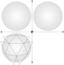 geometry,parallel projection,constrution,geodesic sphere,circumscribed sphere,1/4 net