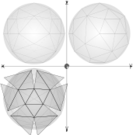 geometry,parallel projection,constrution,geodesic sphere,circumscribed sphere,1/4 net geodesic sphere